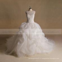 Noble Scoop Neck Exquisite Applique Dentelle & Perles A-line Ruffled Robe de mariée Big Long Tail