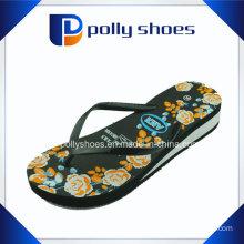 Black Stripe Apple Wedge Flip Flop Sandals 10