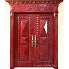 Puerta doble de estilo clásico con talla