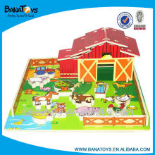 Educational 3d wooden puzzle house with animals