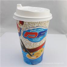 Tasse jetable imprimée par logo fait sur commande de papier de PE de mur simple de logo