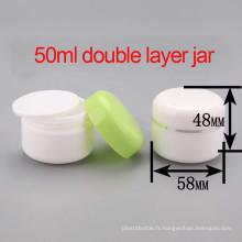 50ml PP Crème Cosmétique Double Couche / Lotion Jar