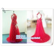Robe de mariée en dentelle brodée 2014 Open Back Robe de soirée en ligne Couronnes rouges avec Tulle BYE-14064