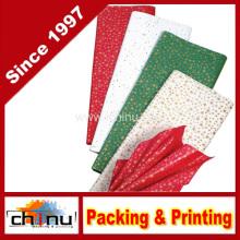 Papel de tecido de Natal de estrelas de ouro (510045)