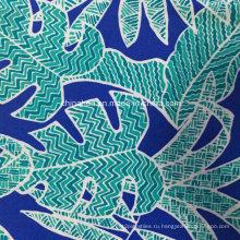 Зеленое печатание листьев ткани для купальников (HD1401110)