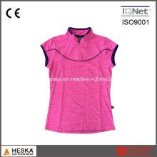 Chinês de personalizado curto manga colarinho pescoço mulheres T Shirt