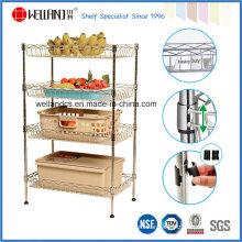 NSF Approval 4 Tiers Chrome Mesh Kitchen Basket Rack