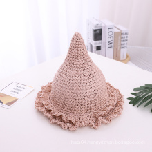New Stylish Hand-knitted Sombrero Children Witch Paper Straw Floppy Hat For Kids