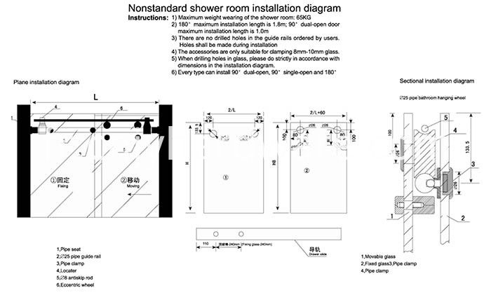 Bathroom Glass Sliding Door Fitting
