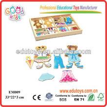 EDU OEM Toys Bear Dressing Wooden Magnetic Toys