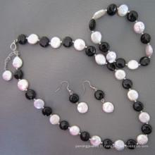 Coin Pearl, Black Agate / Onyx Jewelry Set (SET210)