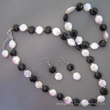Coin Pearl, Black Agate/Onyx Jewelry Set (SET210)