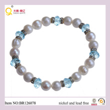 Classic 8-9mm Freshwater Pearl and Crystal Bracelet, Fashion Bracelert as Mother′s Day Gift