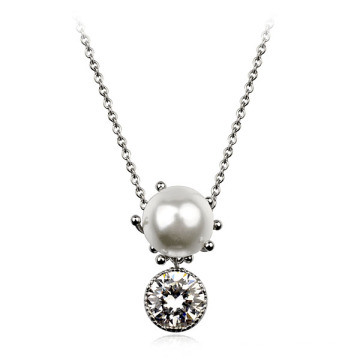 2016 New Style beautiful gold necklace perfect pearl and crystal pendant jewellery necklace