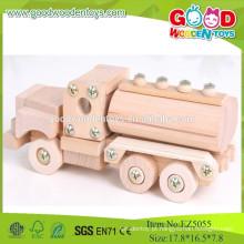 2015 Tanque de combustível de madeira barato barato Car-assemble Toy caminhões de madeira