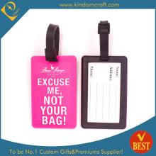 Tag de bagage en PVC souple rose chaud pour promotion