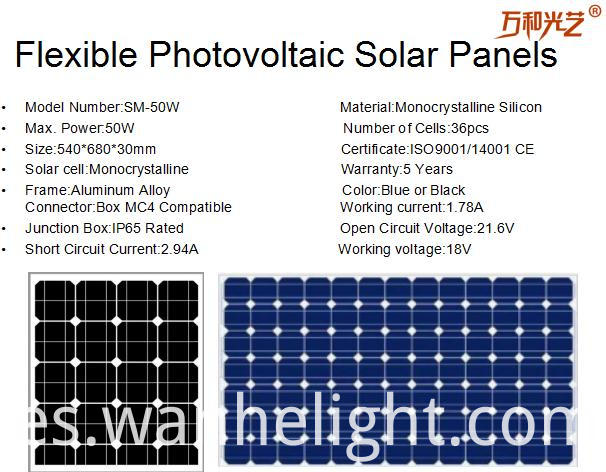 Flexible photovoltaic solar panel