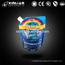 Customize printing reusable stand up spout pouch bag