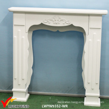 Country Rustic White Wooden Fireplace Mantel