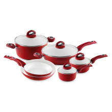 Fashion Home Basic Red 10 Piece Cookware Set Induction Bottom