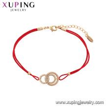75569 Xuping Jewelry Hot Sale Women Pulsera elegante de la cuerda roja de la manera