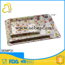 FDA standard designs 3 sizes square melamine plates set