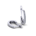 Micro Set AAA CZ 925 Sterling Silver Hoop Earrings Jewelry