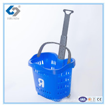 55L Rolling Plastic Shopping Basket with Telescopic Handles for Wholesale