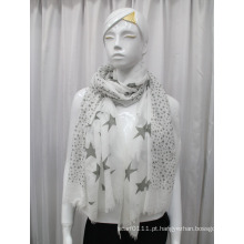 Lady Star impresso algodão voile moda cachecol (YKY1083)