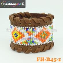 Bracelets en cuir de bonne qualité graines bon marché perle modèle
