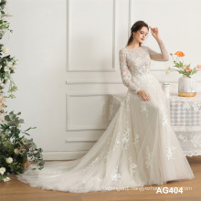 New Modern V-neck Long Sleeve Tulle Fabric Ladies Elegant Lace civil wedding dress