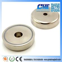 N42 D60X14.5mmxm8 Loch Neodym Pot Permanent Magnet