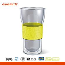 Doble vaso de vidrio de pared sin tapa de silicona
