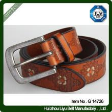 Fashion Antique Real Custom leather Embossed Belt