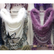 2016 latest fashion winter scarf with fur decorate