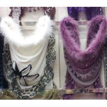 2016 la última bufanda del invierno de la manera con la piel adorna
