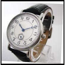 Mejor calidad de cuero genuino reloj de cuarzo para hombre 15122