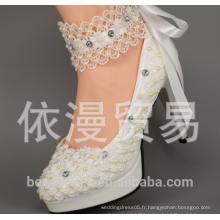Haute qualité pointu Toes dentelle perles femmes chaussures de mariage avec des rubans en dentelle Ladies Party / chaussures habillées taille EU35-42 WS01
