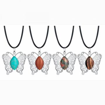 Butterfly Gemstone Pendant Necklace For Women Girls Beautiful Animal Crystal Necklaces Jewelry