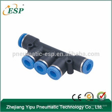 5 way plastic push-in union triple branch quick connect fitting