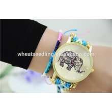 Buena reputación china taobao colorido elefano nylon reloj correas aleación reloj barato