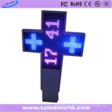 Diodo emissor de luz exterior do sinal da farmácia da cruz lateral dobro P20