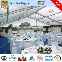 Großes klare Hochzeit Zelt mit weißen Futter Dekoratio für Hochzeitsfeier