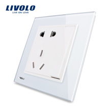 Livolo 5 Pins Socket 1 Gang 2 Voies Verre Dur Blanc Power Socket VL-W2Z1D-12
