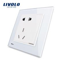 Livolo 5-контактный разъем 1 Gang 2 Way Hough Glass Белый разъем питания VL-W2Z1D-12