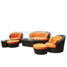 Garden wicker furniture PE rattan aluminum sofa sets