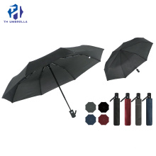 Automatic Pure Color 3 Folding Umbrella with Logo Prints
