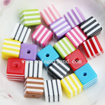 Fashion Square Cube Zebra gestreift Harz Spacer Beads