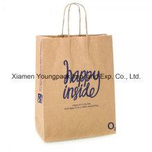 Bolso de papel marrón natural reciclado impreso personalizado con las manijas torcidas
