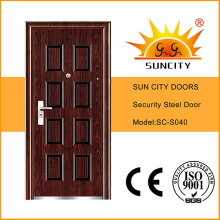Diseño superior de las puertas de acero de la seguridad de 8 paneles del panel (SC-S040)